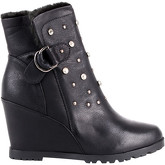 Krisp  Studded Fur Lined Wedge Boots {Black}  women's Low Ankle Boots in Black