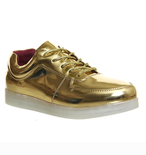 Irregular Choice State Of Flux Sneaker METALLIC GOLD RED