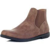 Spylovebuy  MAXIMO Flat Chelsea Ankle Boots - Tan Leather Style  women's Mid Boots in Brown