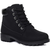 Spylovebuy  MORGAN Lace Up Cleated Sole Flat Combat Worker Walking Ankle Bo  women's Mid Boots in Black