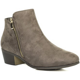 Spylovebuy  FRANKY Zip Block Heel Ankle Boots Shoes - Brown Suede Style  women's Mid Boots in Brown