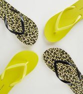 Brown Animal and Neon Yellow Print Flip Flops New Look