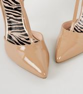 Camel Patent T-Bar Pointed Court Shoes New Look