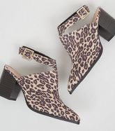 Wide Fit Stone Leopard Print Block Heels New Look