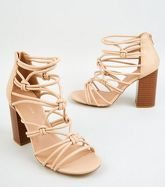 Cream Leather-Look Strappy Knot Heels New Look Vegan