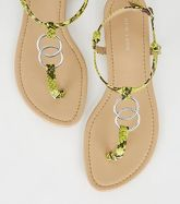 Green Neon Faux Snake Ring Strap Flat Sandals New Look