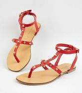 Red Leather Stud Strap Sandals New Look
