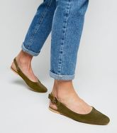 Khaki Suede Contrast Buckle Slingbacks New Look