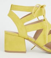 Yellow Suedette Lace Up Ghillie Sandals New Look