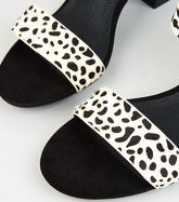 White Leather Spot Block Heel Sandals New Look