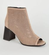 Light Brown Suedette Laser Cut Peep Toes New Look