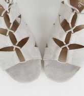 Grey Suedette Lace Up Ghillie Sandals New Look Vegan