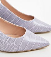 Wide Fit Lilac Faux Croc Slingbacks New Look