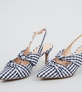 Blue Gingham Knot Strap Slingback Heels New Look