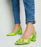 Yellow Neon Faux Snake Slingbacks New Look