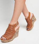 Tan Woven Peep Toe Wedges New Look