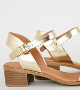 Wide Fit Gold Metallic Footbed Sandals New Look