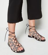 Wide Fit Stone Leopard Print Lace Up Sandals New Look Vegan