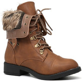 London Rag  Women's Dark Brown Synthetic Fur Tripped Lace Up Boots  women's Mid Boots in Brown