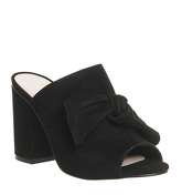 Office Aintree Bow Detail Mule BLACK SUEDE