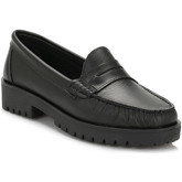Tower  Womens Black Leather Loafers  women's Loafers / Casual Shoes in Black