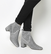 Office Lurex Mid Block Heel Stretch Boots SILVER GLITTER