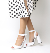 Office Heartly Square Block Heel Ankle Strap WHITE LEATHER