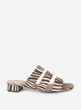 Womens Multi Coloured Zebra Print 'Stormy' Multi Strap Mules- Zebra, Zebra