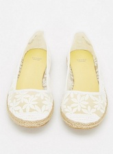 White Floral Lace Espadrilles, White (wide!)