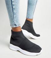 Black Knit High Top Sock Trainers New Look Vegan