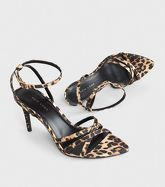 Stone Leopard Print Satin Strappy Stiletto Heels New Look