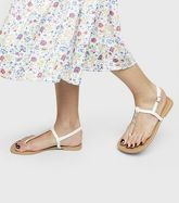 Wide Fit White Bar Strap Flat Sandals New Look