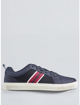 Mens Navy Leather Look Trainers, NAVY