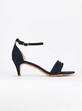Extra Wide Fit Navy Blue Strap Padded Kitten Heel Sandals, Navy (wide!)