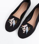Black Suedette Budgie Embroidered Loafers New Look