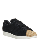 Adidas Superstar 80s BLACK SUEDE CORK TOE