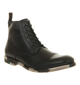 Ask the Missus Carson Toe Cap Lace boots BLACK LEATHER CAMO SOLE