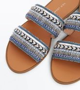 Navy Beaded Double Strap Mules New Look