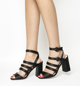 Office Home Time Square Toe Strappy Block BLACK SATIN