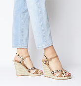 Office Half Moon Woven Upper Wedge TAN WITH LEOPARD COW HAIR