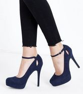 Navy Suedette Keyhole Platform Courts New Look