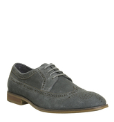 Ask the Missus Folk Brogue DARK GREY SUEDE