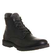 Ask the Missus Axis Toe Cap boots BLACK LEATHER GREY FELT