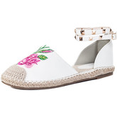 Spylovebuy  Beatrice Adjustable Buckle Embroidery Flat Strappy Sandals Shoe  women's Court Shoes in White