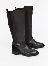 Extra Wide Fit Black Mix Material Long Rider Boots, Black (wide!)