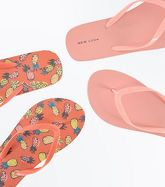2 Pack Coral Pineapple Print Flip Flops New Look