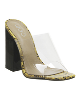 Ego Brooke Transparent Block Heel Mule YELLOW SNAKE BLACK
