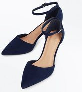 Navy Comfort Suedette Kitten Heel Courts New Look