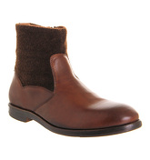 Ask the Missus Reece Zip Boot TAN LEATHER BROWN WOOL