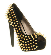 Jeffrey Campbell During Spike High Heel BLACK SUEDE GOLD SPIKES